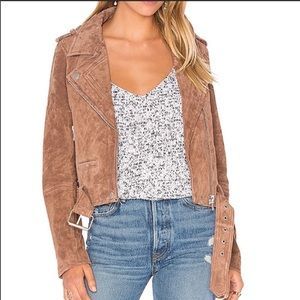 BLANK NYC SUEDE MOTO LEATHER JACKET COFFEE BEAN